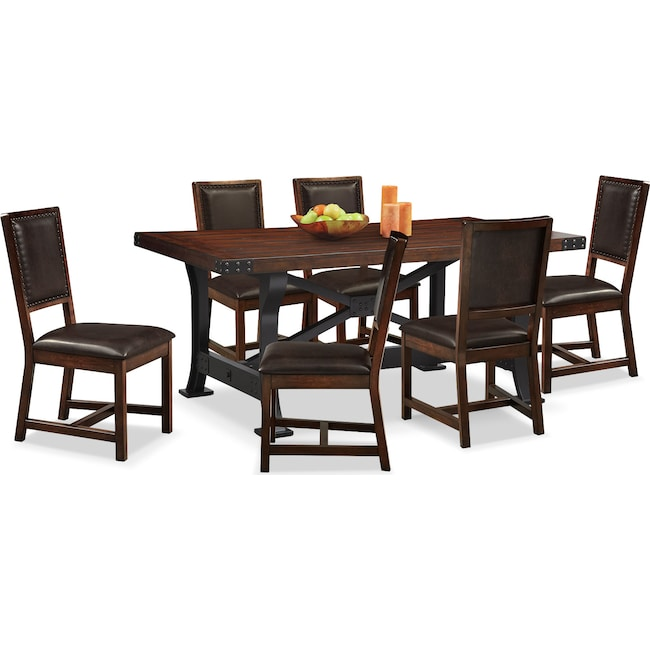 Dining Room Furniture - Newcastle Table and 6 Chairs - Mahogany