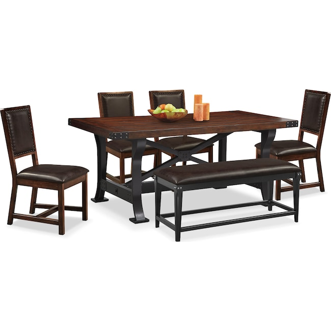 Dining Room Furniture - Newcastle Table , 4 Chairs and Bench - Mahogany