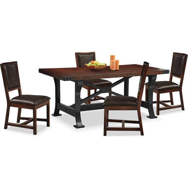 Dining Room Furniture - Newcastle Dining Table and 4 Side Chairs - Mahogany