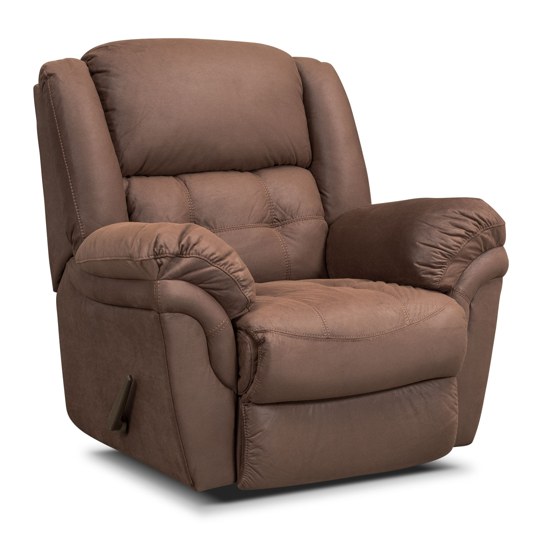 Living Room Furniture - Lancer Chocolate Glider Recliner