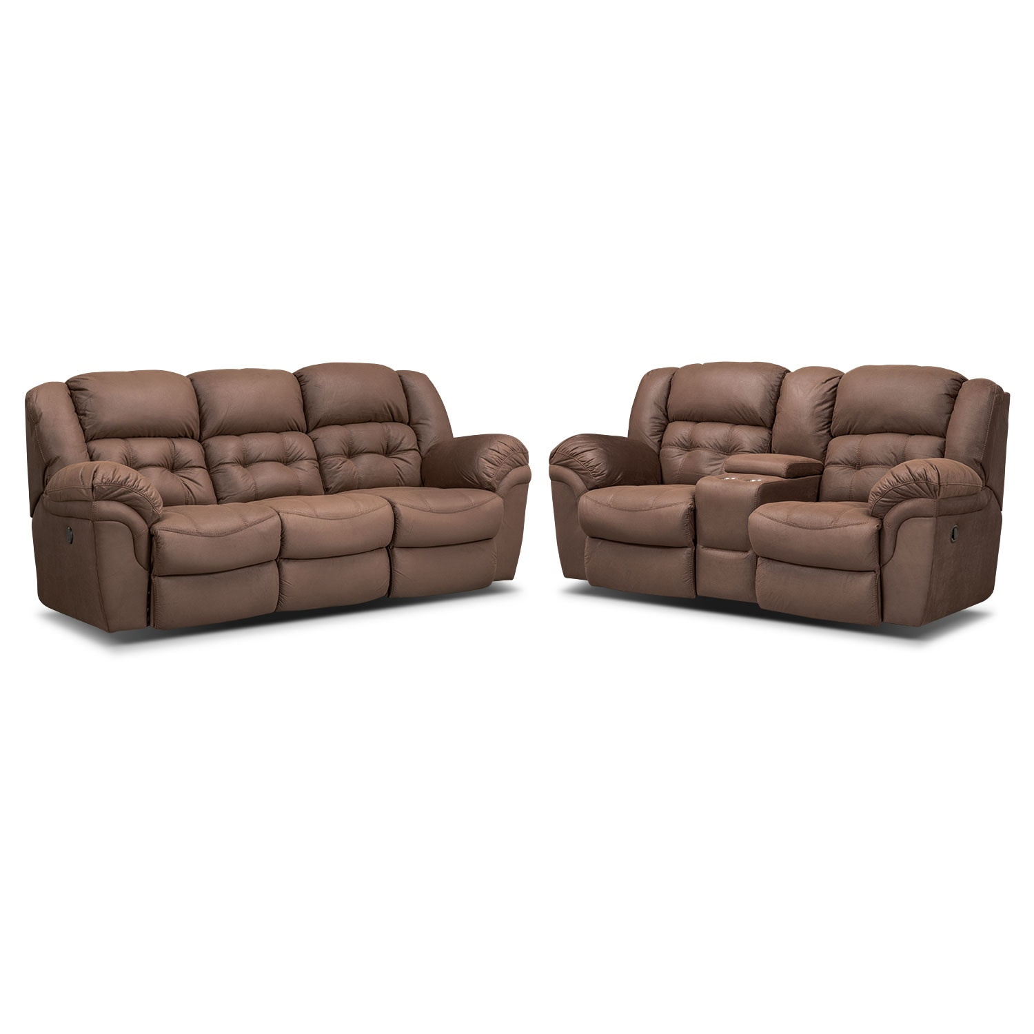 Living Room Furniture - Lancer Chocolate Power Reclining Sofa and Reclining Loveseat w/ Console Set