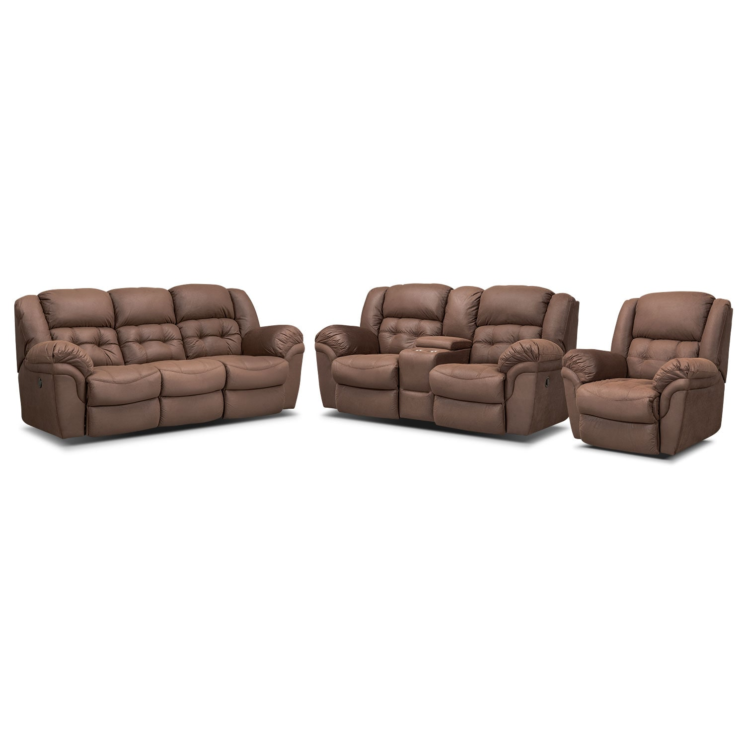 Living Room Furniture - Lancer Chocolate Power Reclining Sofa, Reclining Loveseat w/ Console and Glider Recliner Set