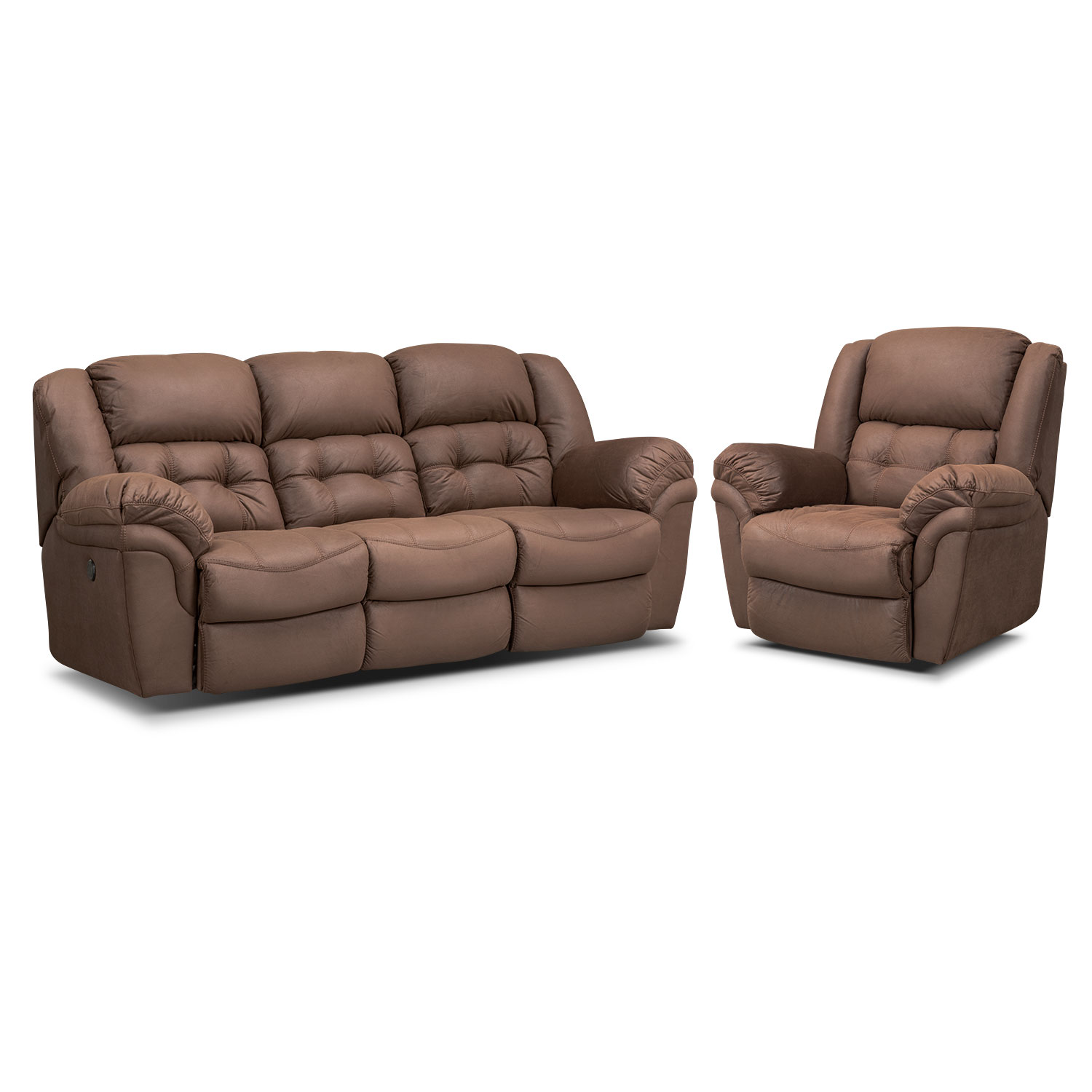 Living Room Furniture - Lancer Power Reclining Sofa and Manual Glider Recliner Set - Chocolate