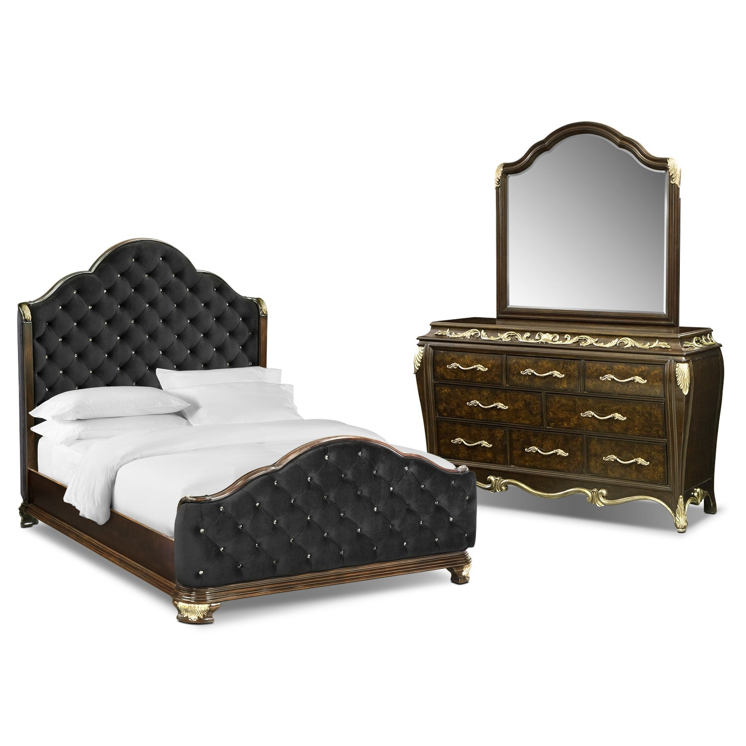 Bedroom Furniture - Anastasia 5 Pc. Queen Bedroom Package