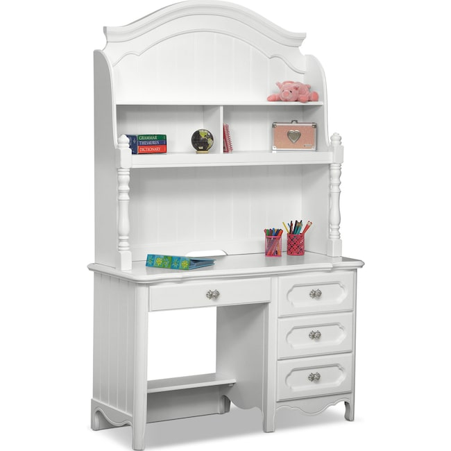 Kids Furniture - Carly Desk and Hutch - White