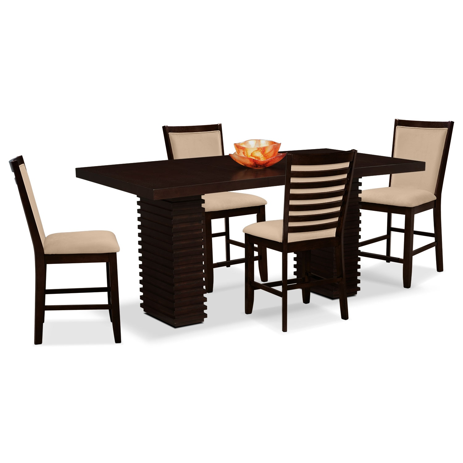 paragon counter height table and 6 chairs brown american par