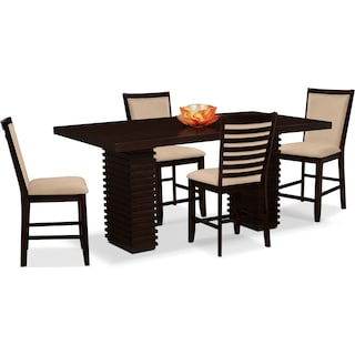 Paragon Counter-Height Table and 4 Chairs - Camel