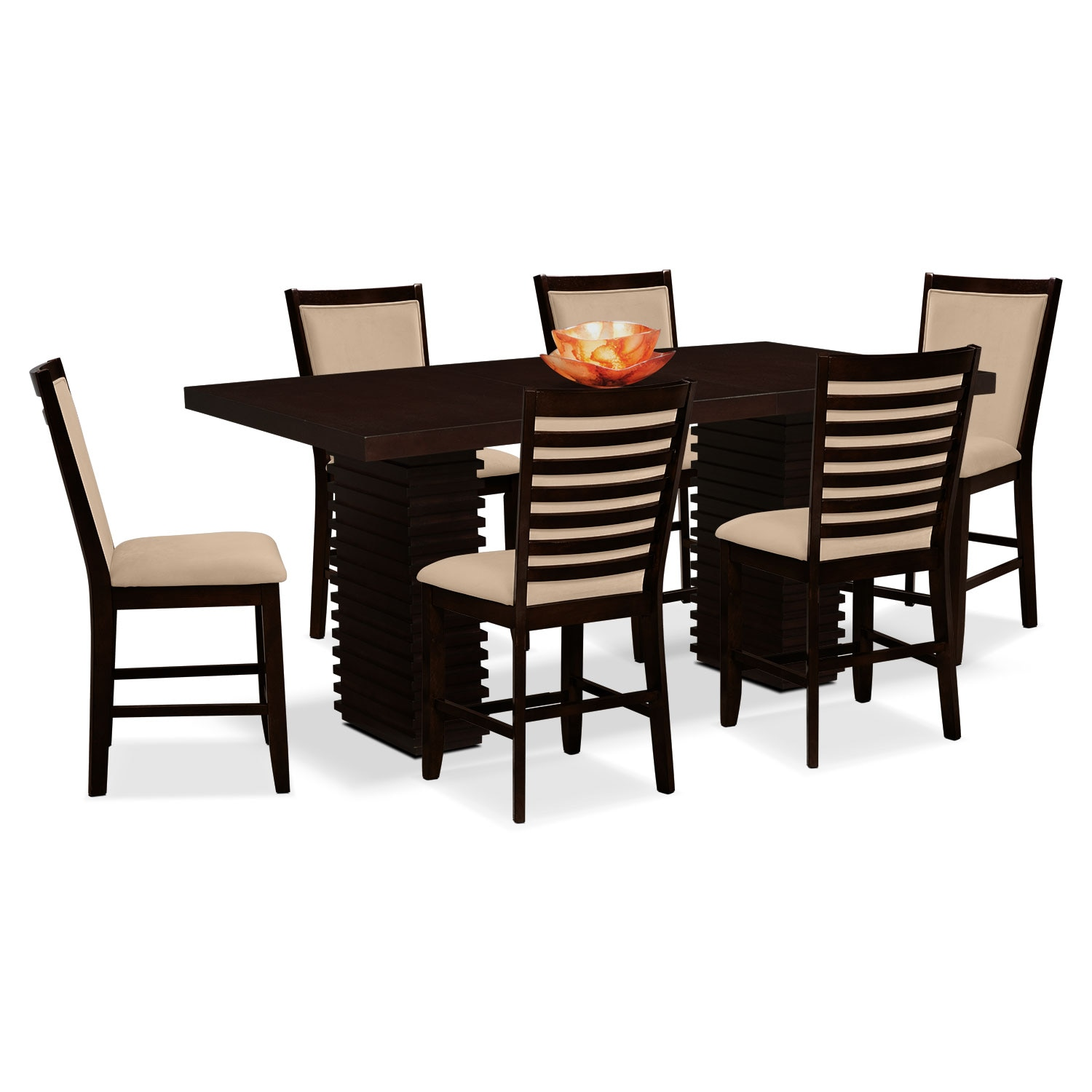 Paragon Counter Height Table And 6 Chairs Camel American Signature Furniture