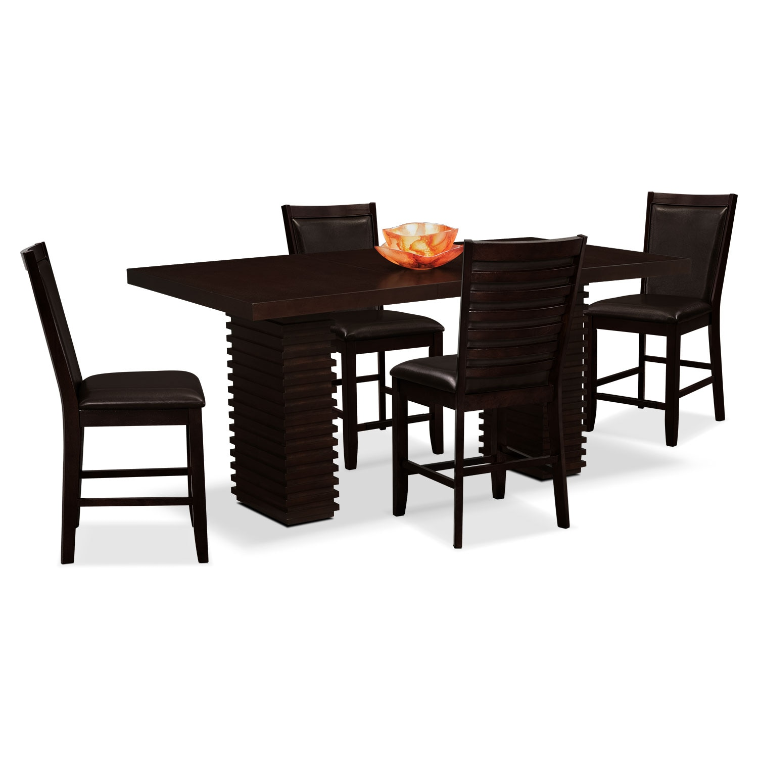 Paragon Counter-Height Table and 4 Chairs - Brown