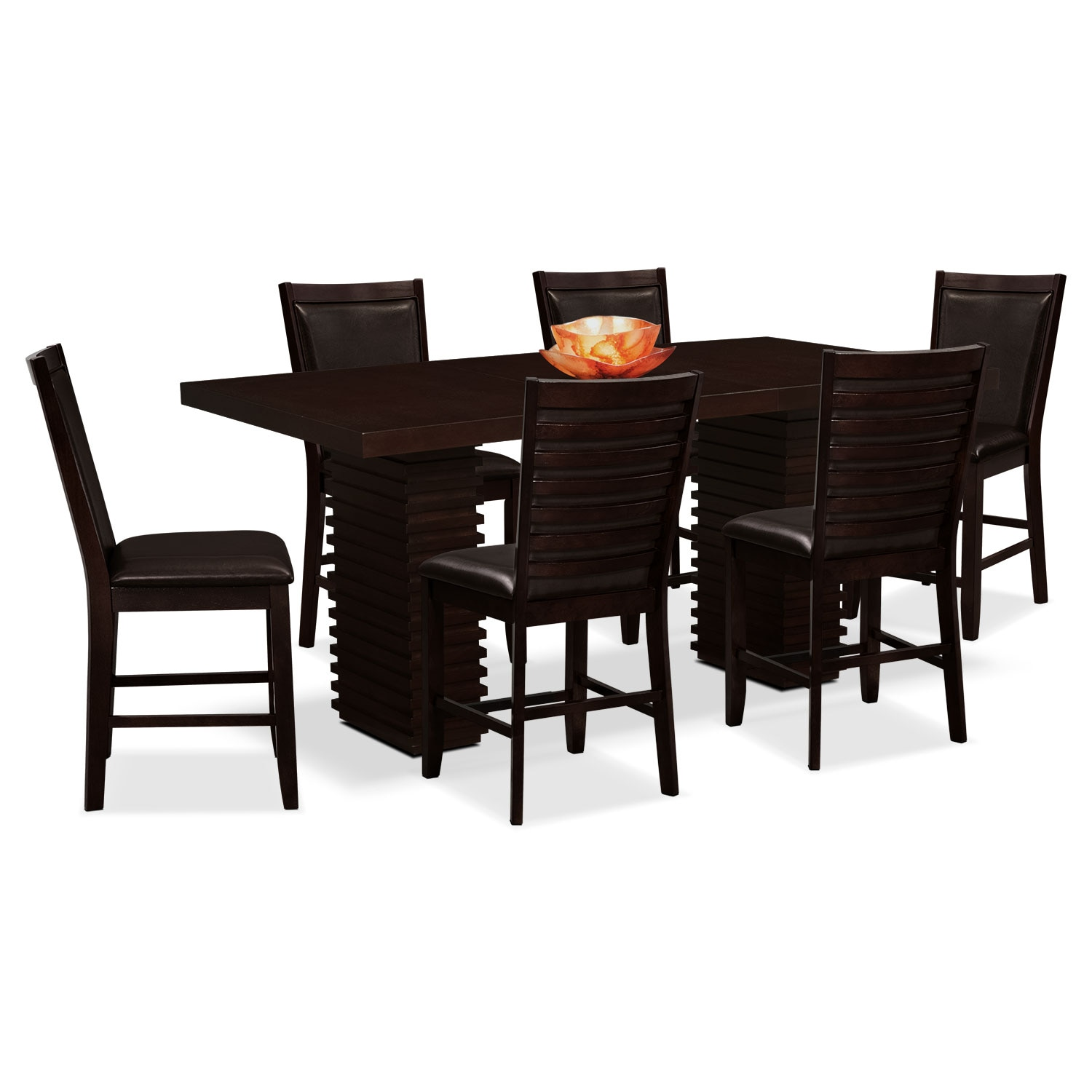 Dining Room Furniture - Paragon 7 Pc. Counter-Height Dinette - Brown