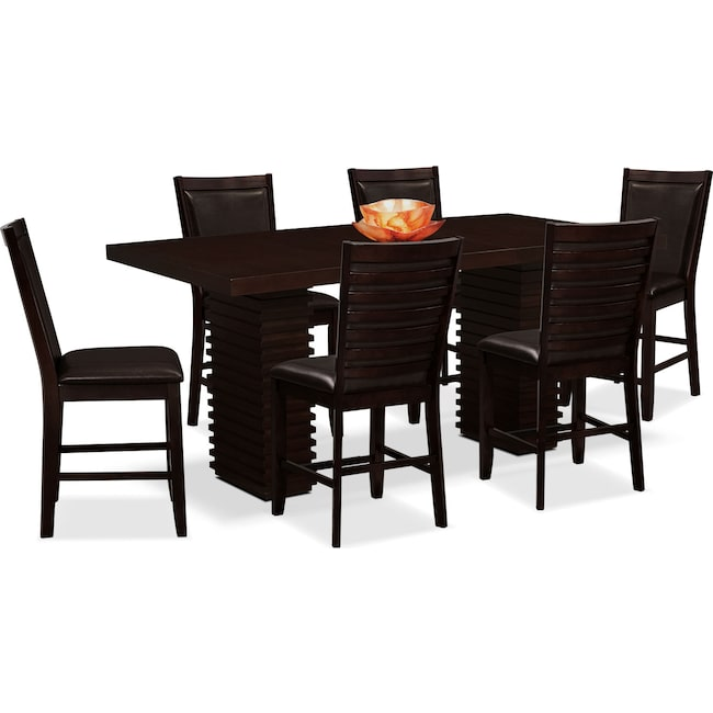 Dining Room Furniture - Paragon Counter-Height Table and 6 Chairs - Brown