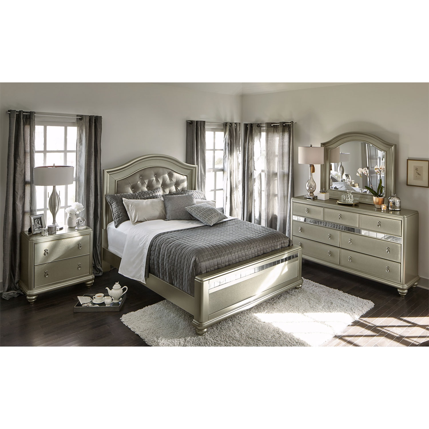 Serena Queen 6 Piece Bedroom Set Platinum