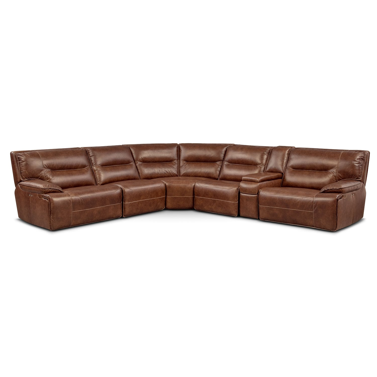 Living Room Furniture - Glenmont Brown 6 Pc. Power Reclining Sectional w/ 2 Power Recliners and Console