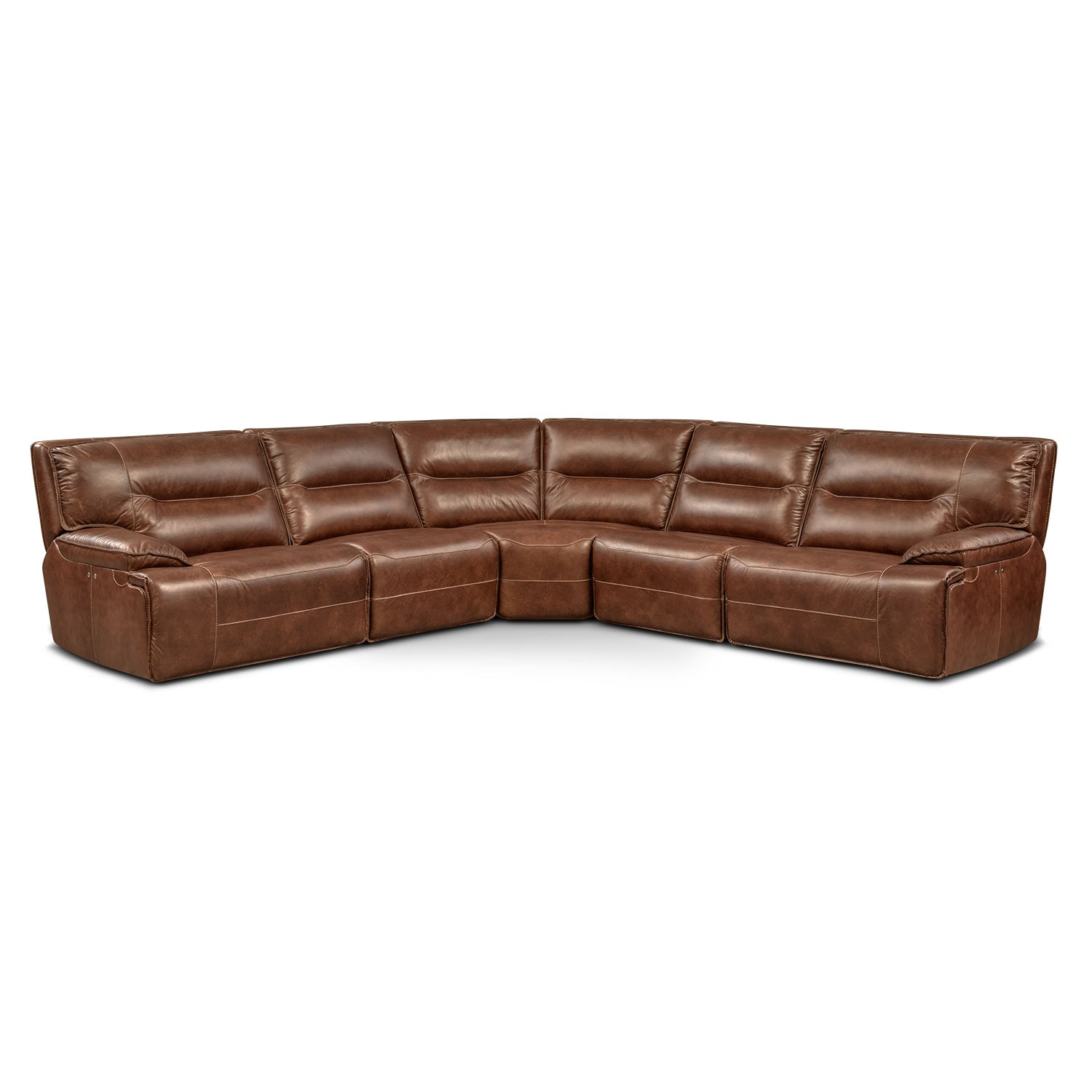 Living Room Furniture - Glenmont Brown 5 Pc. Power Reclining Sectional w/ 3 Power Recliners
