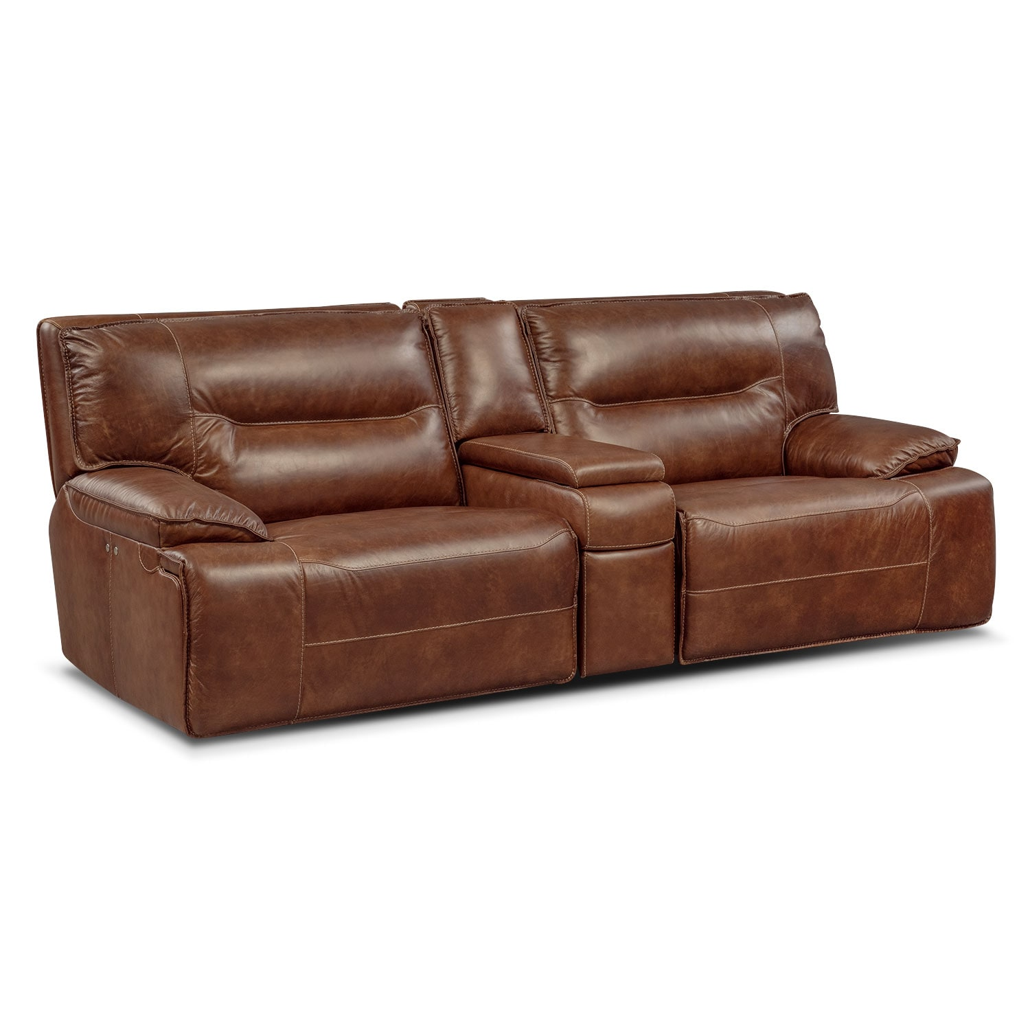 Living Room Furniture - Glenmont Power Reclining Sofa with Console - Brown