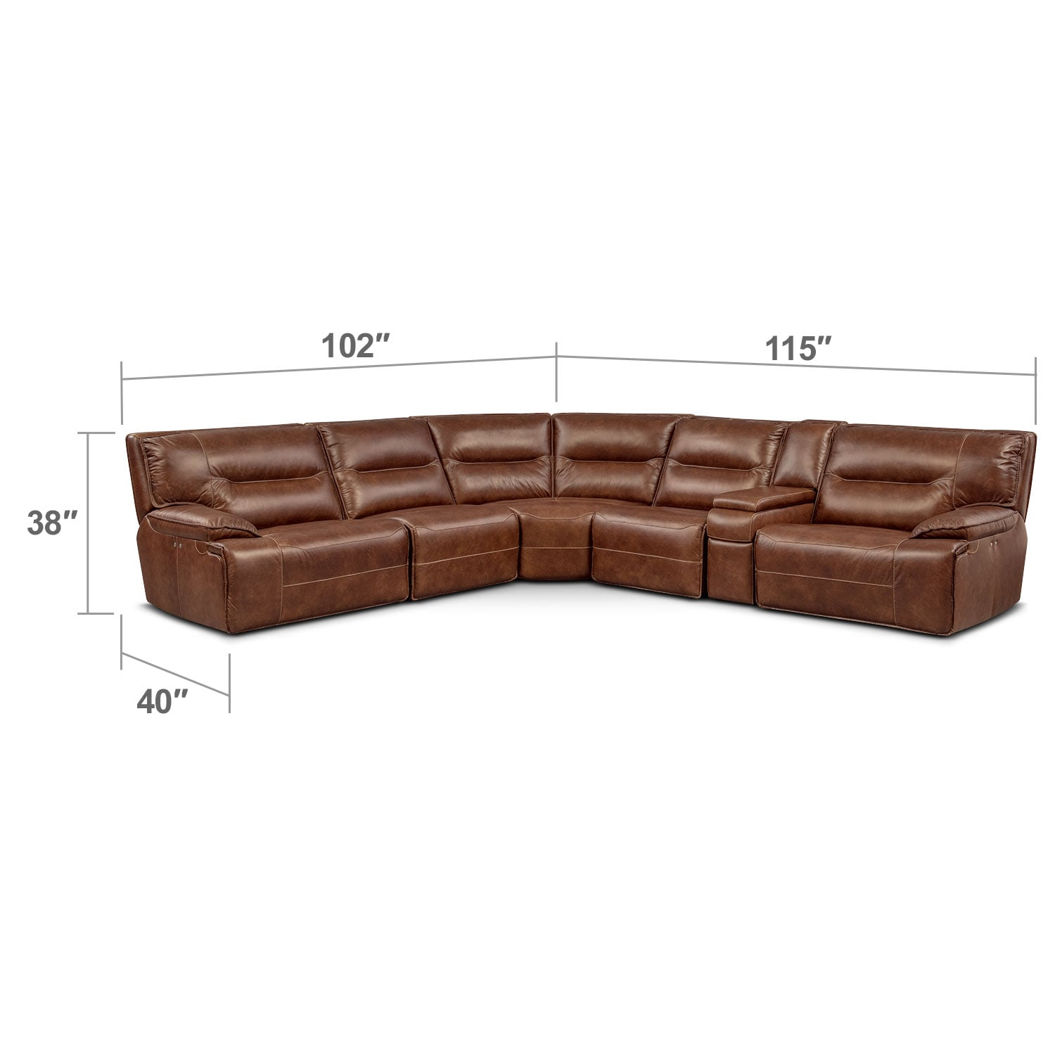 Living Room Furniture - Glenmont 6-Piece Power Reclining Sectional with 3 Power Recliners - Brown
