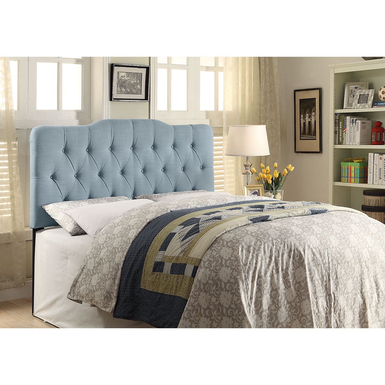 Bedroom Furniture - Quinn King Headboard - Blue
