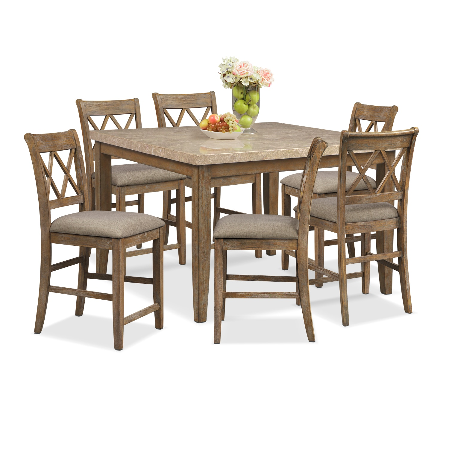 Dining Room Furniture - Sedona Gray 7 Pc. Counter-Height Dining Room