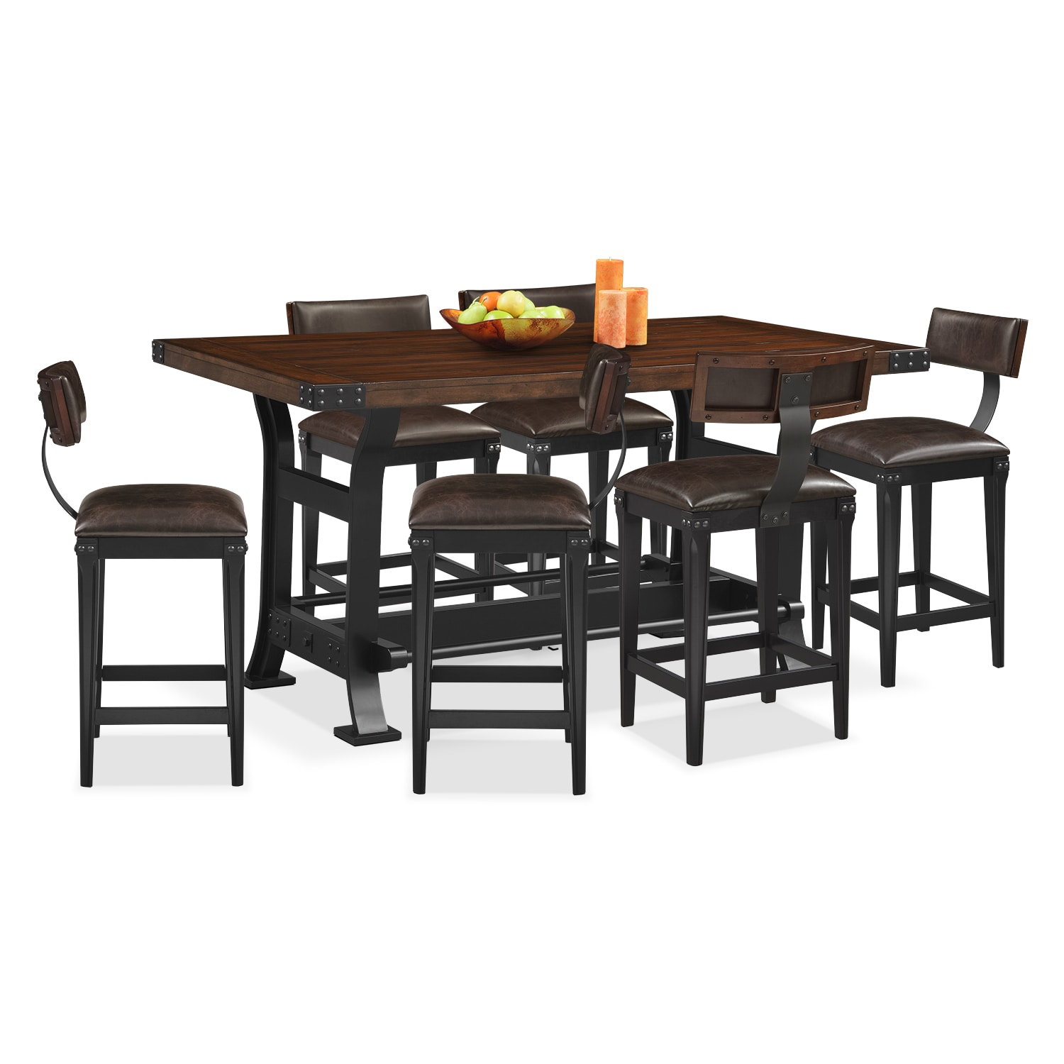 Dining Room Furniture - Newcastle 7 Pc. Counter-Height Dining Room w/ 6 Stools