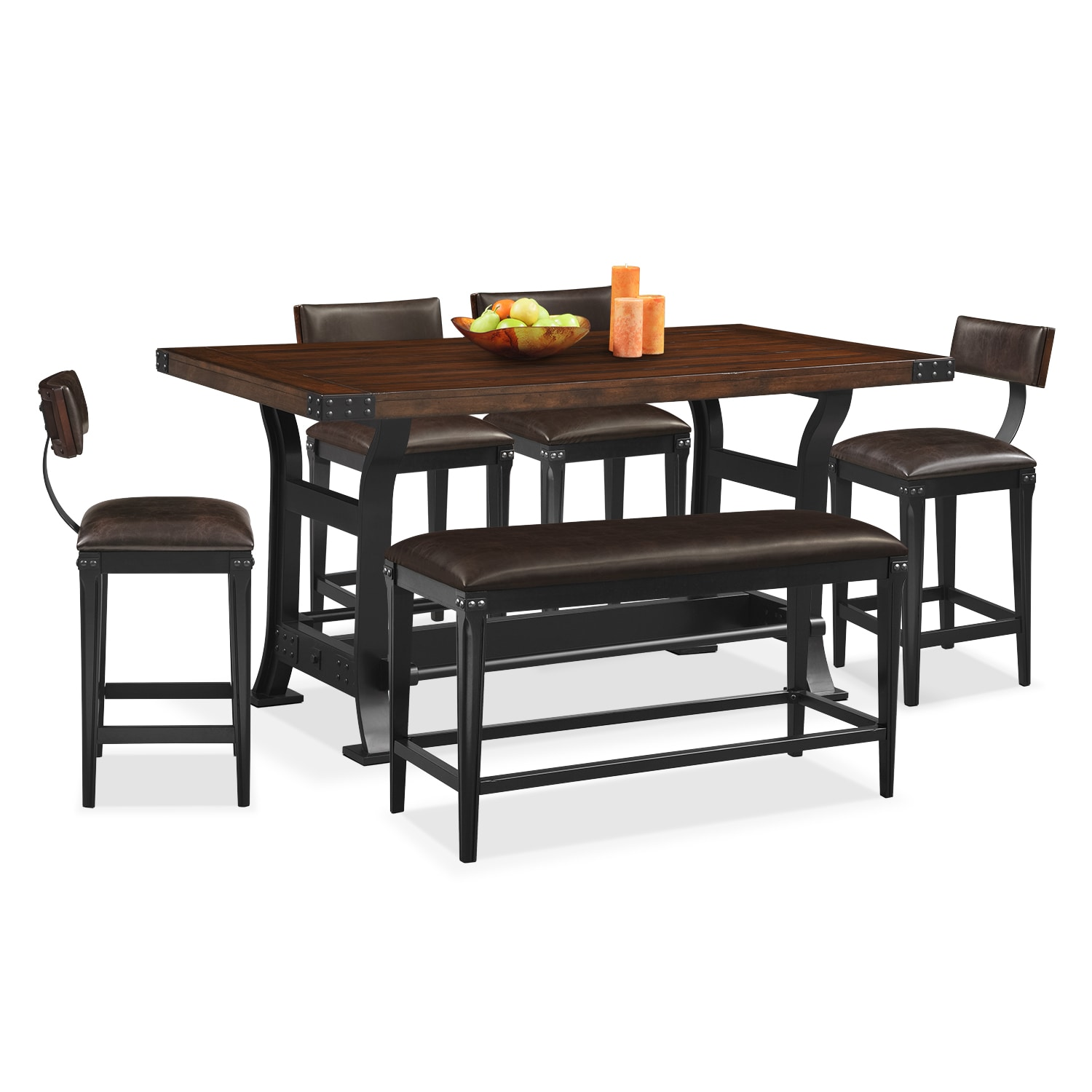 Dining Room Furniture - Newcastle 6 Pc. Counter-Height Dining Room w/ 4 Stools and Bench