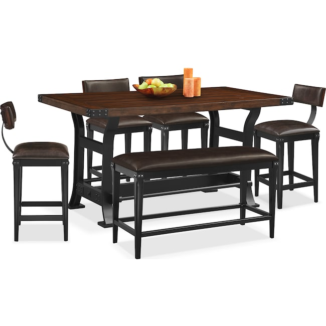 Dining Room Furniture - Newcastle Counter-Height Dining Table, 4 Stools and Bench - Mahogany