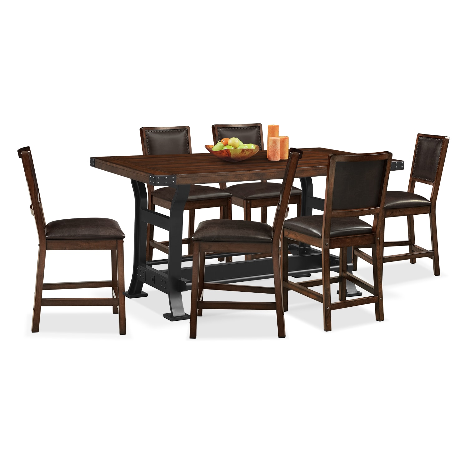 Newcastle counter height dining table and 6 side chairs for Dining table size for 6