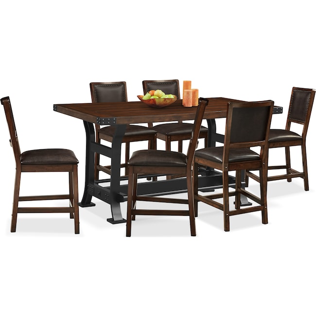 Dining Room Furniture - Newcastle Counter-Height Dining Table and 6 Side Chairs - Mahogany