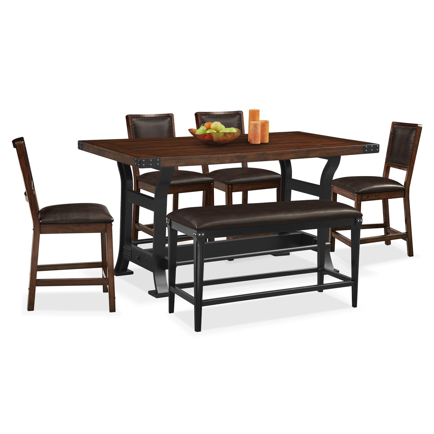 Newcastle Counter-Height Dining Table, 4 Side Chairs And