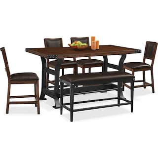 Newcastle Counter-Height Dining Table, 4 Side Chairs and Bench - Mahogany
