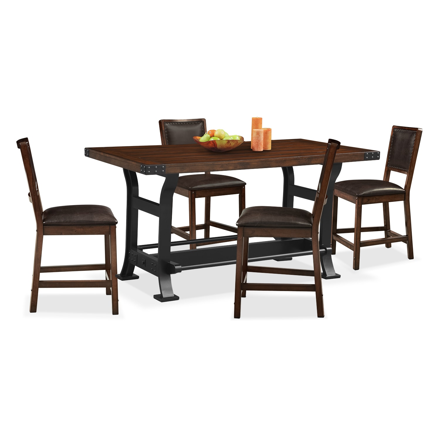 Newcastle counter height table and 4 chairs mahogany american signature furniture - Height dining room table ...