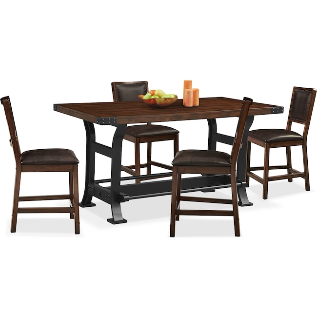 Dining Room Furniture - Newcastle Counter-Height Dining Table and 4 Side Chairs - Mahogany