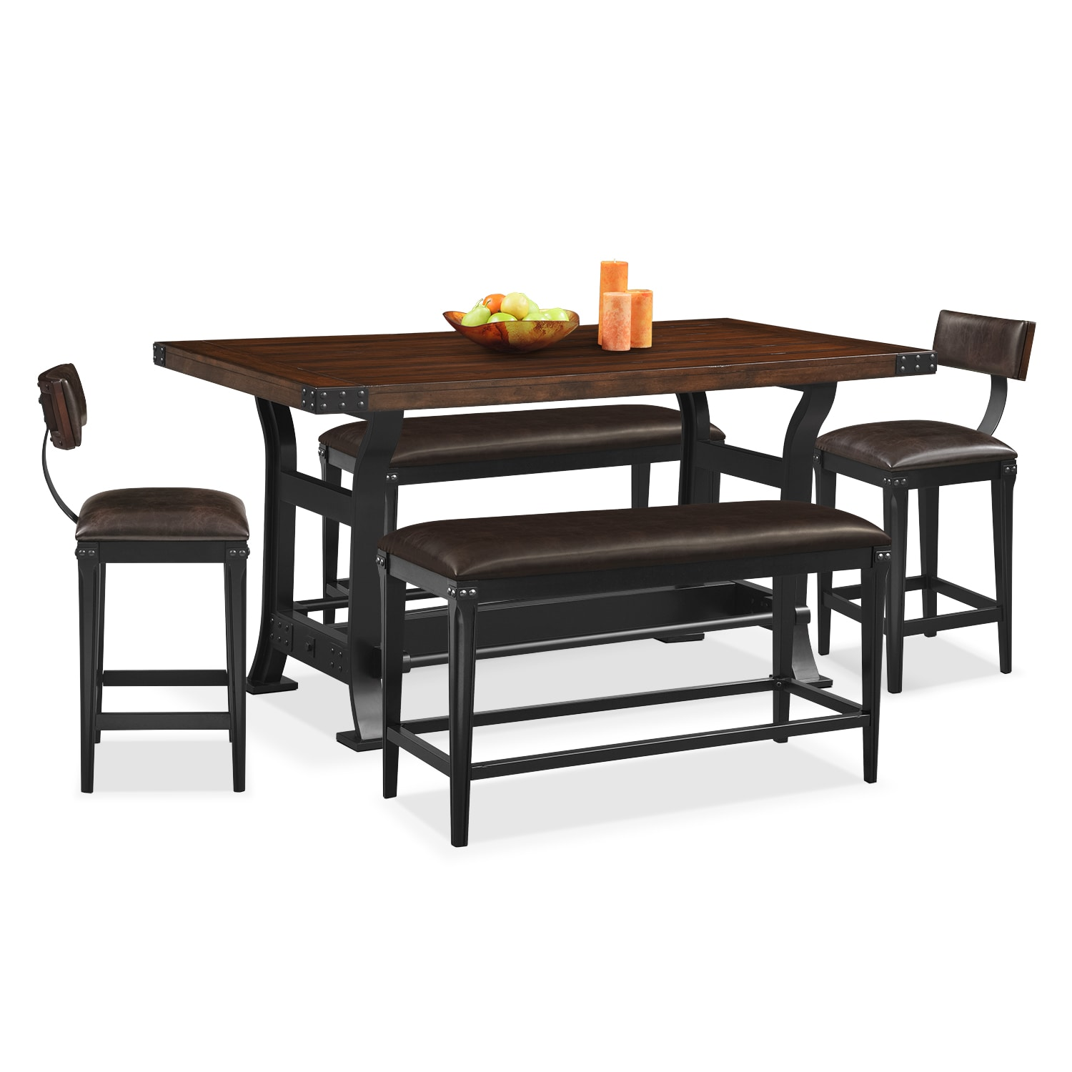 Dining Room Furniture - Newcastle 5 Pc. Counter-Height Dining Room w/ 2 Stools and 2 Benches