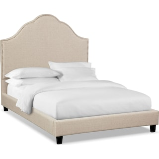 Maya Queen Upholstered Bed - Beige