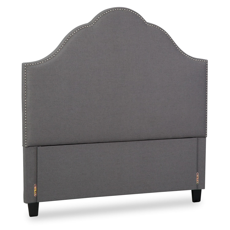 Bedroom Furniture - Maya Queen Upholstered Headboard - Gray