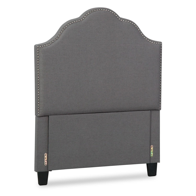 Bedroom Furniture - Maya Twin Upholstered Headboard - Gray