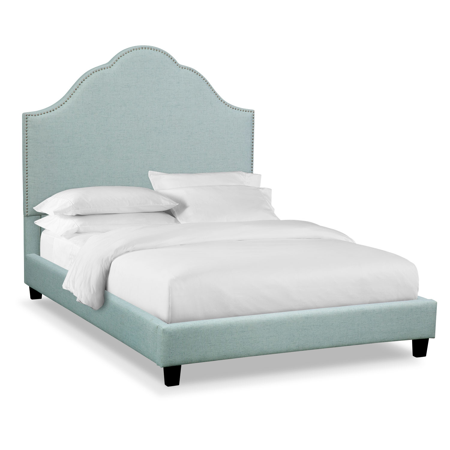 Maya King Upholstered Bed - Aqua