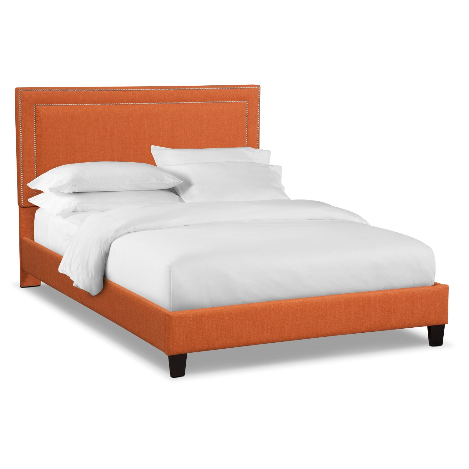 Bedroom Furniture - Natalie King Upholstered Bed - Orange