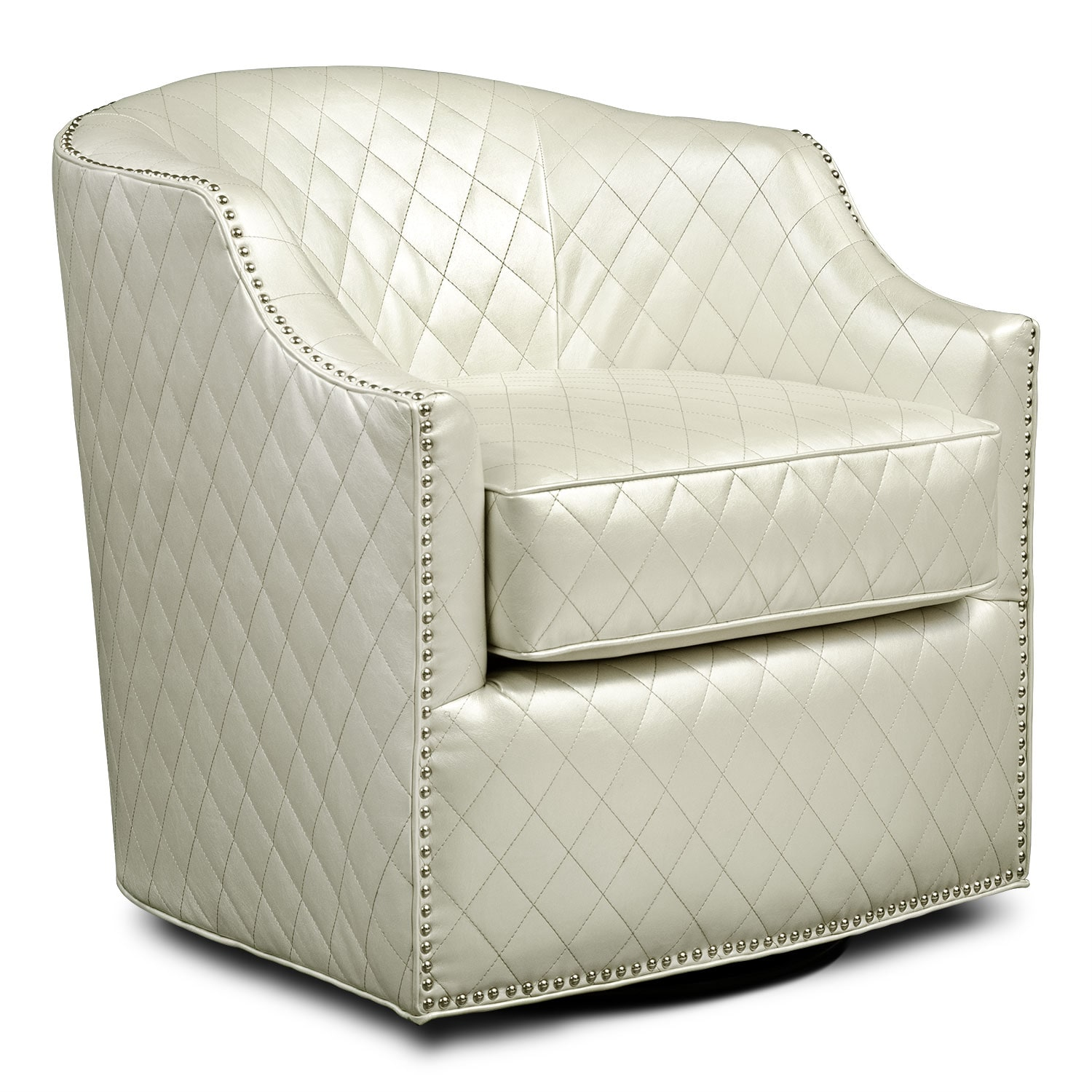 Bedroom Furniture - Roxie Swivel Chair - Pearl