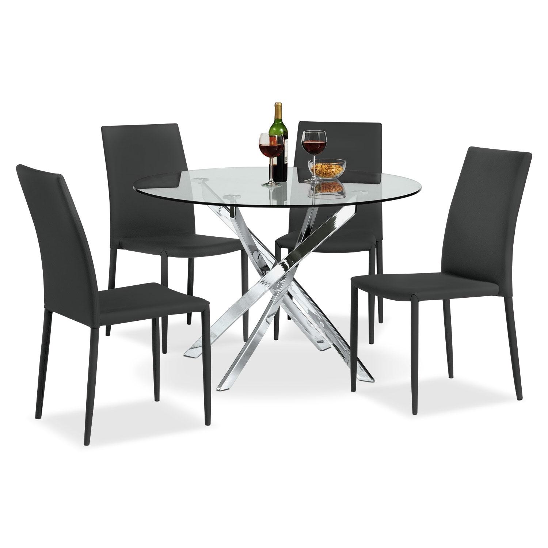 Dining Room Furniture - Quattro 5 Pc. Dinette - Black