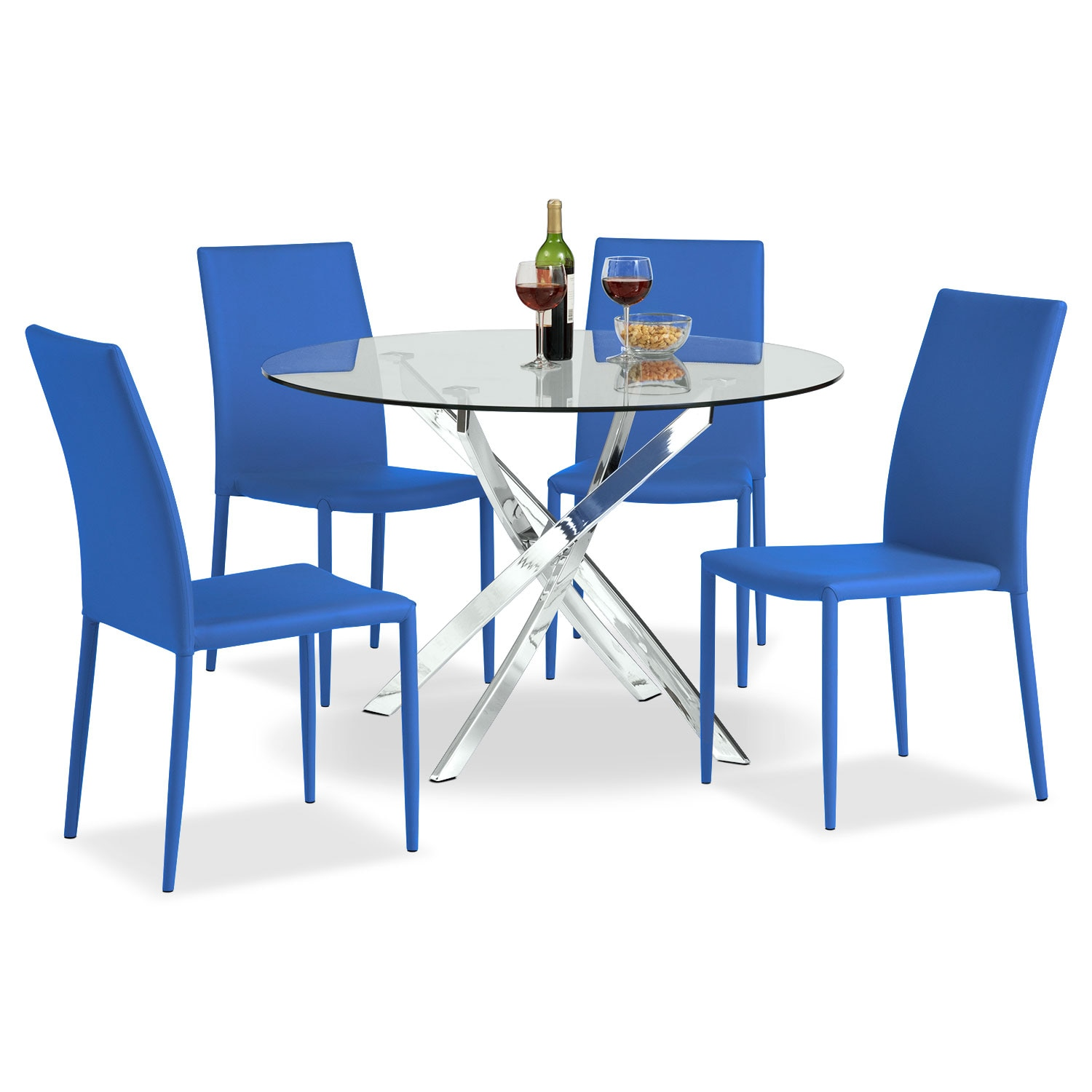 Quattro Table and 4 Chairs - Blue