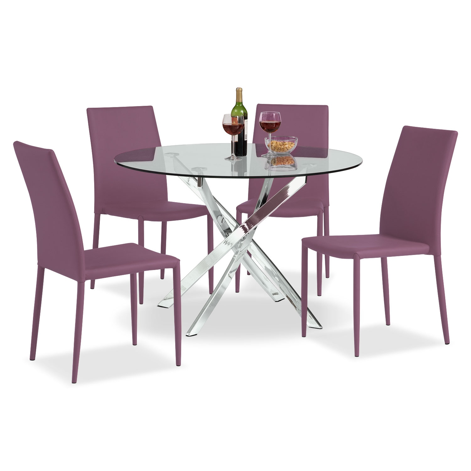 Quattro Table and 4 Chairs - Purple