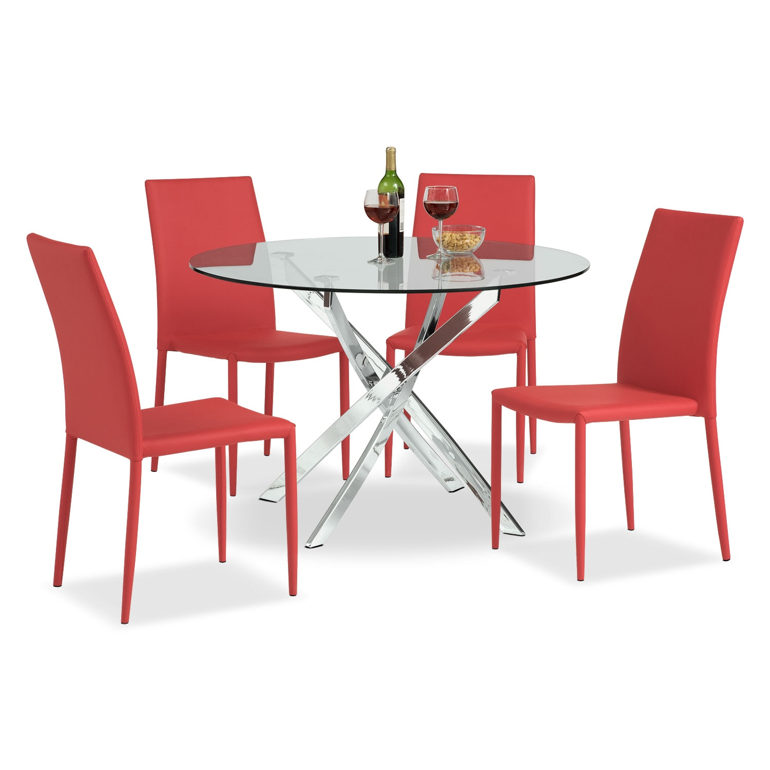 Quattro Table and 4 Chairs - Red