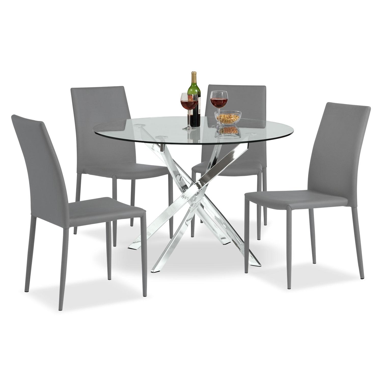 Dining Room Furniture - Quattro 5 Pc. Dinette - Gray