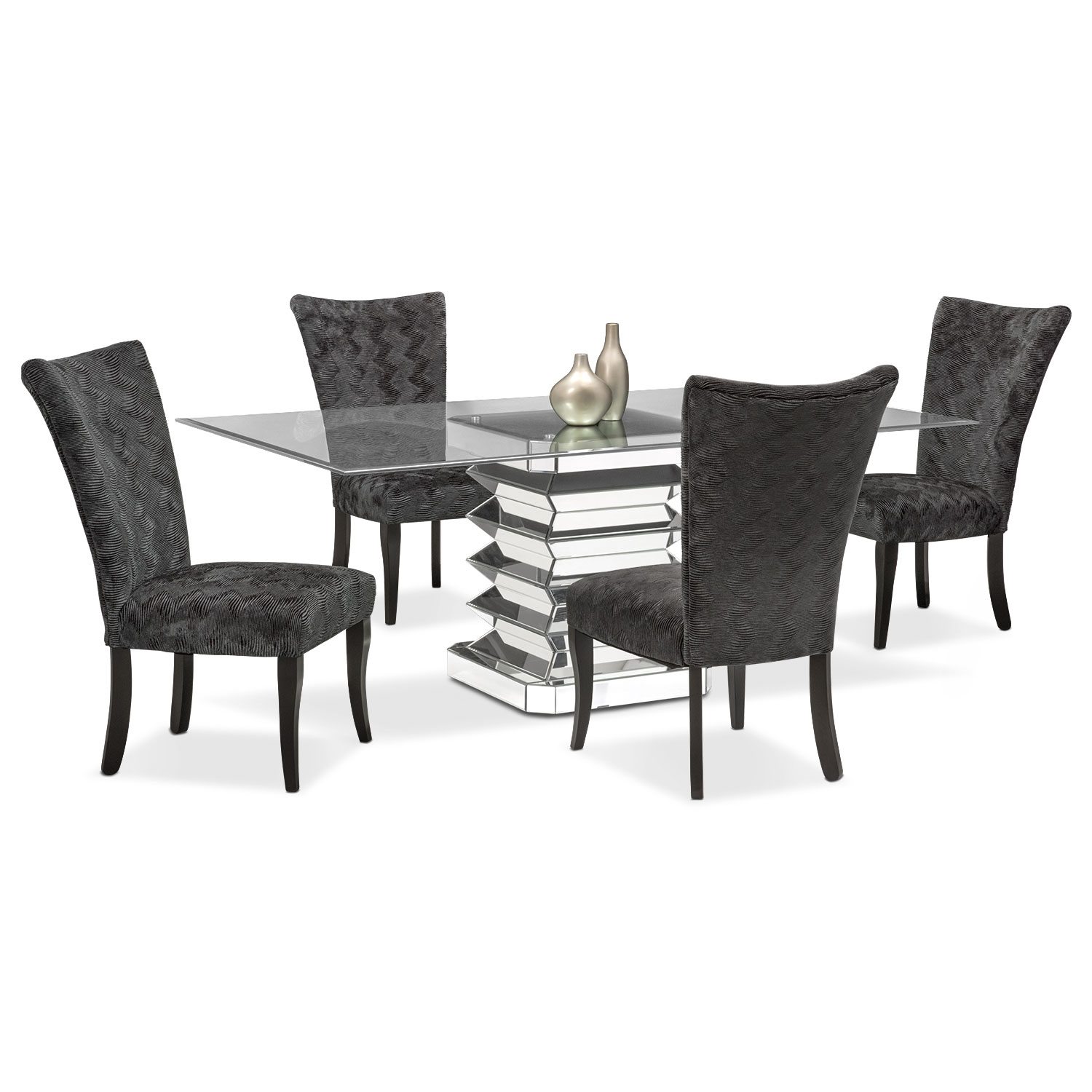 Vibrato Table and 4 Chairs - Charcoal