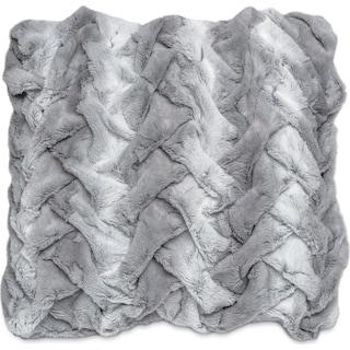 Faux Fur Decorative Pillow - Silver