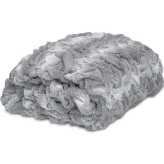 Faux Fur Throw Blanket - Silver