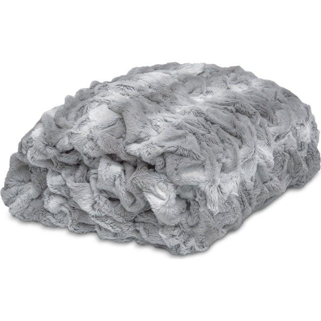 Accent and Occasional Furniture - Dobby Throw Blanket - Silver