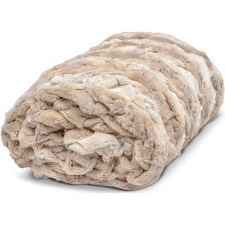 Faux Fur Throw Blanket - Camel