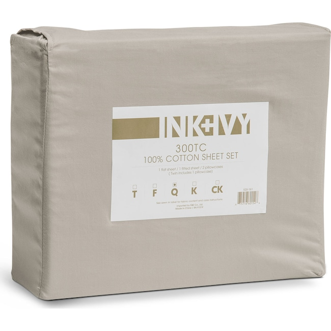 Accent and Occasional Furniture - Harbor Queen 300 Thread Count Cotton Sheet Set - Gray