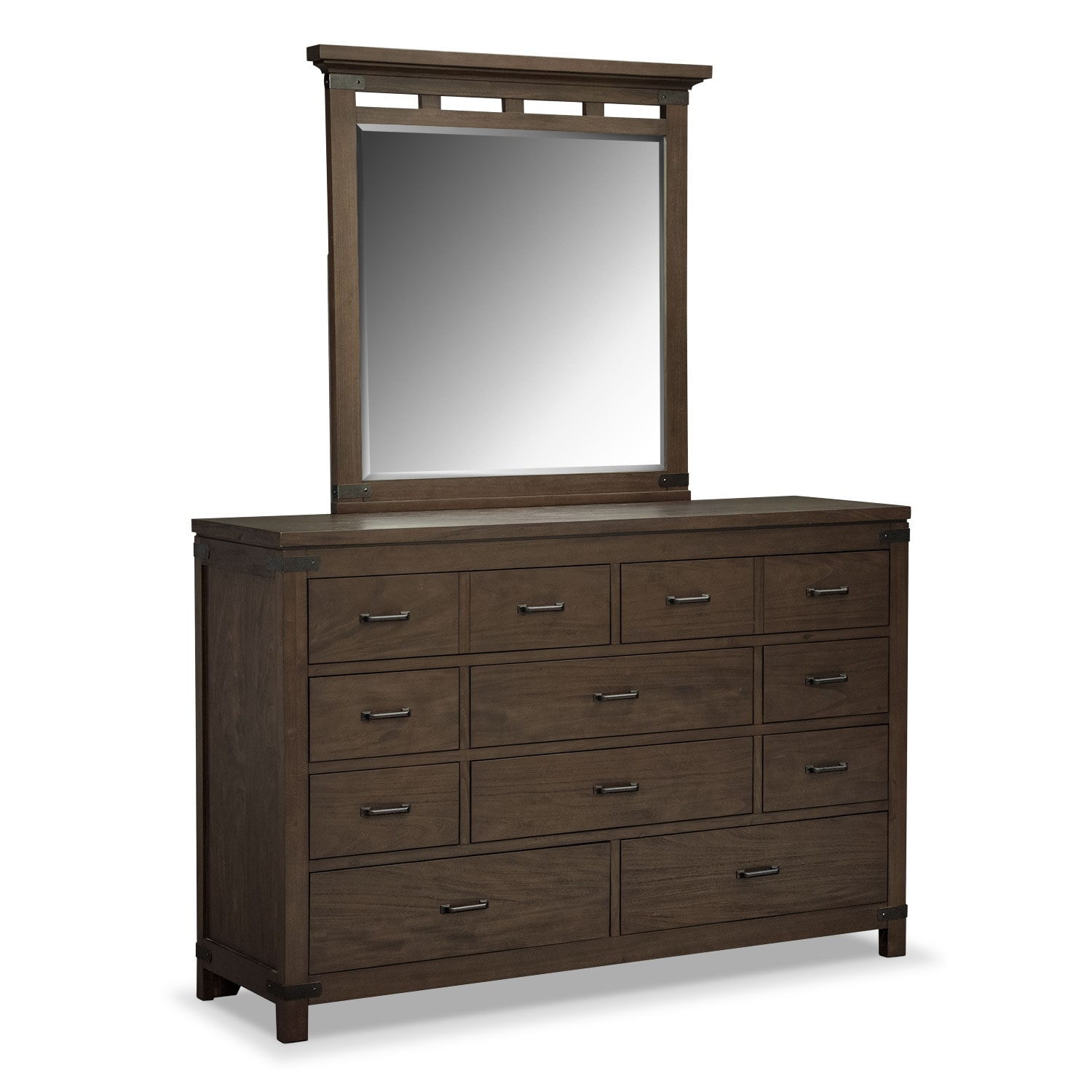 Bedroom Furniture - Camryn Dresser and Mirror Set - Cocoa